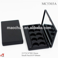Empty compact black eyeshadow container palette