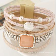Alibaba estilo popular cristal mulheres wrap pulseira de couro magnético