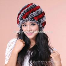 Dame Winter Fashion Windproof Kaninchen Pelz Warm Hüte und Caps, Winter Pelz Hüte Großhandel