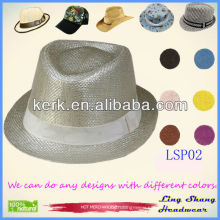 LSP02 ningbo 2014 Beautiful Elegant Ribbon Fedora 100% Paper Straw elegat cheap fedora paper straw hat