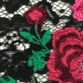 Bordado multicolor de la flor del hilado lechoso en tela del cordón