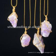 Collier en chaîne doré pour femmes Collier pendentif en pierre naturelle druzy