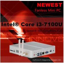Barebone 4k HTPC Ordinateur de bureau Intel HD 620 Mini PC Fanless VGA HDMI Core I5 7200u Slim PC