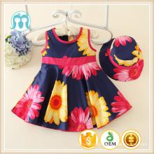 2016 Fashion Casual Kid vêtements en vrac acheter des filles robe de Chine motif tournesol robe