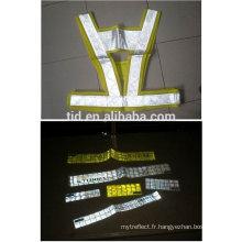 Ruban jaune fluorescent à haute brillance pour le vêtement de sécurité