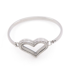 New design Heart shape crystal metal pendant bangles for women, stainless steel cuff bracelet