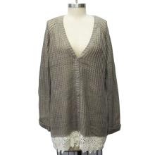 Женщины V Шея длинным рукавом джемпер свитер с кружевом