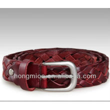 Classic style red hand-made braided genuine leather belt