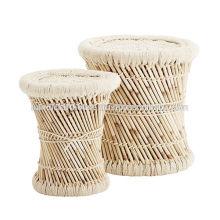 Bamboo Round Set von 2 Hockern