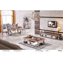 Mesa de café de mármore superior com gaveta