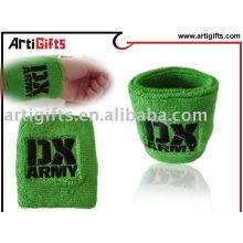 AG Bracelet en tissu de coton vert et bandeau