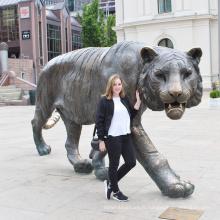 coulée jardin animal décoration taille de bronze tigre statue