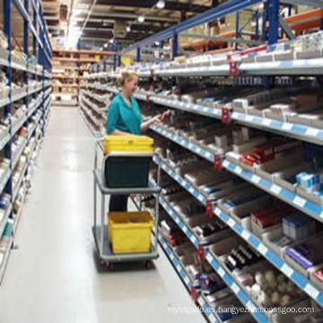 Estante de flujo de gravedad PEO de fabricación FIFO Montaje de estante de flujo de cartón para engranajes