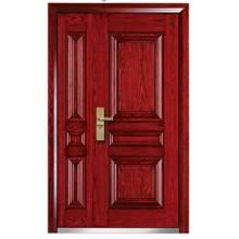 Puerta blindada exterior de acero y madera
