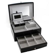 Caixa de jóias de couro preto moda com gaveta (HX-A0749)
