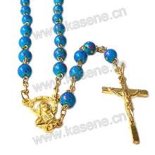 Venta directa de la fábrica Collar del rosario del oro del grano de cristal con el crucifijo