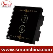 Interruptor preto do toque da chave da lâmpada 2 para a parede, interruptores espertos do controlo a distância da casa
