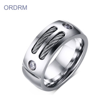 Cincin Band Kabel Stainless Steel Mens Kustom