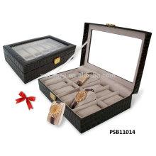 caja de reloj de cuero por mayor para 12 relojes con opciones de color diferentes