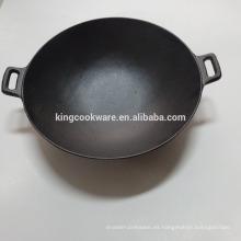 Chinses wok de hierro fundido, utensilios de cocina, pre-condimentado para cocina.