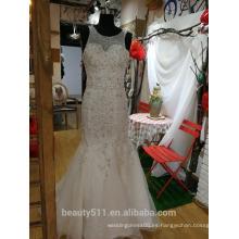 Corte Tulle tren de la novia con apliques de lentejuelas Appliques vestido de novia P095