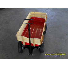 Red Wagon Cart for Baby with Wooden Side