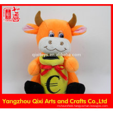 Hot selling plush toy animal monkey bank plush cow money bank with lock