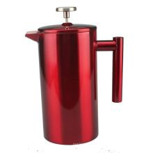 Cafetière à presse française élégante en acier inoxydable rouge