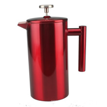 Elegante rote Edelstahl French Press Kaffeemaschine