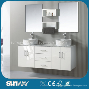 Hot Sale América estilo sólido muebles de baño de madera con doble fregadero