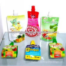 Cartoon fruit kids, colorful printed Jelly juice spout 4 layers material packaging bags