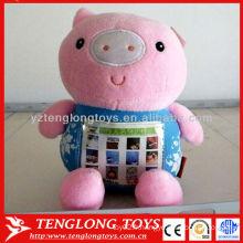 2015 nouvel arrivé rose imprimé porc jouets en peluche cadre photo