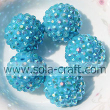 Fantastic Turquoise AB Jewelry Solid 20*22MM Resin Rhinestone Ball Beads