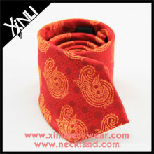 Cravate faite sur commande de soie de cravate de Paisley jaune rouge