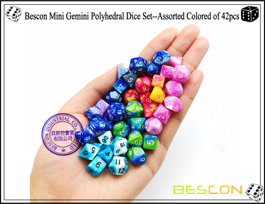 Bescon Mini Gemini Polyhedral Dice Set--Assorted Colored of 42-4