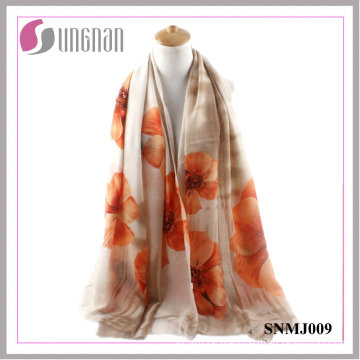 2016 Spring Elegance Shawl Begonia Print Satin Cotton Scarf