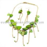 beautiful green shell and stone jewelry set