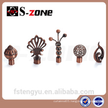 decorative metal window curtain rod finial