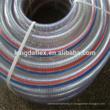 Tuyau flexible en acier galvanisé par spirale tressée de fil d'acier galvanisé par PVC flexible de tuyau d'aspiration d'eau