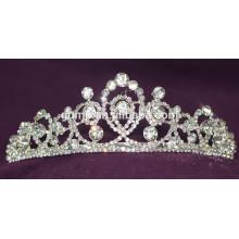 Moda de alta calidad aleación de la boda tiara personalizada brillo de cristal corona nupcial
