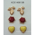 Lovely Set Metal Earring with Heart, Leaf
