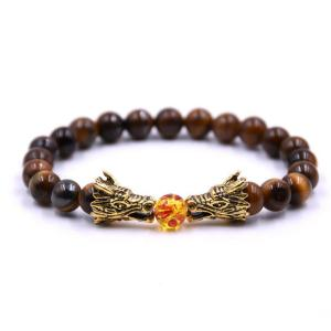 Men Dragon Beads Tiger's Eye Charms Stretch Bracelet