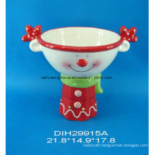 Hand-Painted Ceramic Reindeer Candy Bowl with Stand