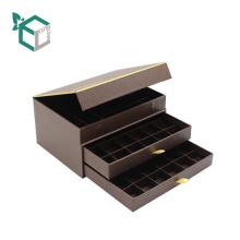 Caja de empaquetado del chocolate de la grada del papel de la caja de la forma del libro de papel de lujo de lujo
