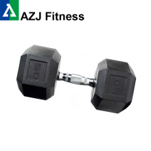 50LB Black Rubber Hex Dumbbell