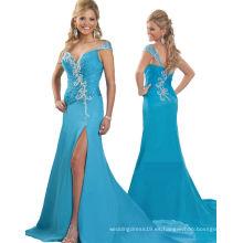 Vestido de noche del vestido de partido del vestido del desfile del pavo real del hombro con los Rhinestones cristalinos RO11-17