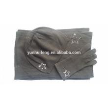 Conjunto de bufanda y sombrero de tejer de cachemira muy suave