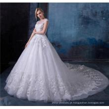 Vestidos nupciais brancos elegantes do laço da bainha do laço dos vestidos de casamento com grânulo e cristal