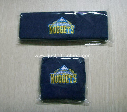 Promotional Cotton Terry Sweatband Set, Embroidered Logo