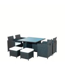 Muebles al aire libre negro de la rota del patio con 8 plazas